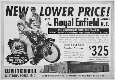 Advertisement offers Royal Enfield Model RE at new low price.