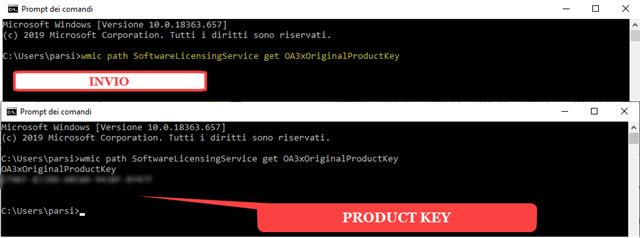 product key ottenuto dal prompt dei comandi di Windows