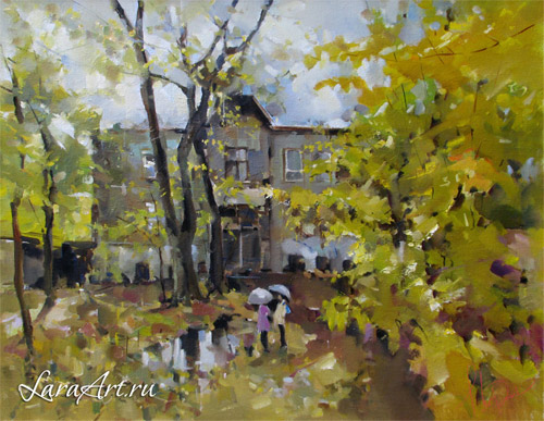 Теплая осень, городской пейзаж, живопись, Нижний Новгород