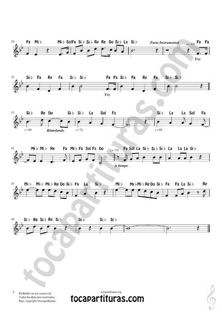2 Partitura con Notas del Himno Nacional Argentino versión tocapartituras de la voz cantada del vídeo anterior (flautas, violin, oboe, clarinete, trompeta, cornos, saxofones e instrumentos que leen en clave de sol)