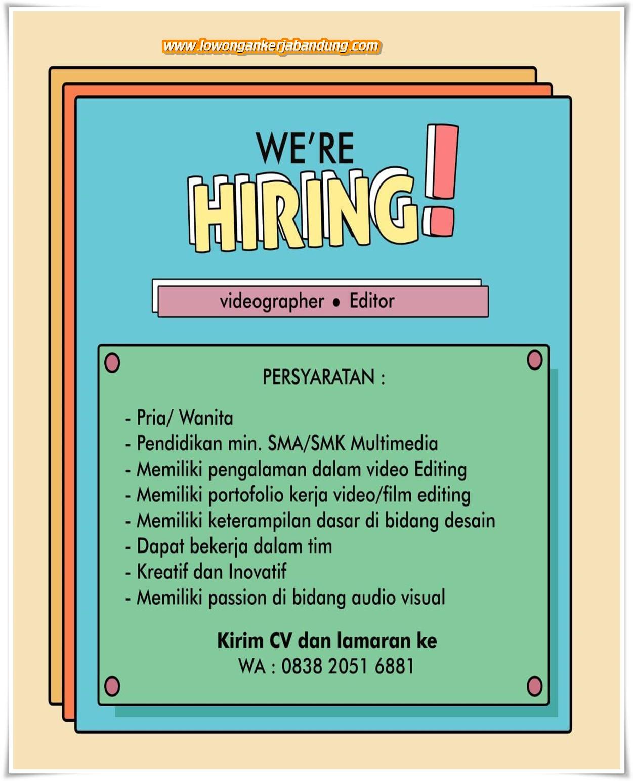 Lowongan Kerja Videographer Editor Di Bandung