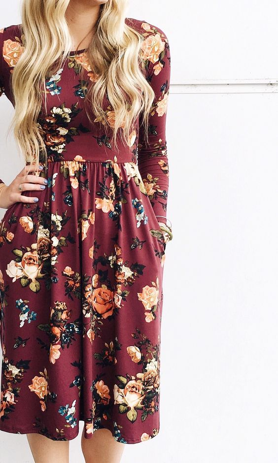 Beautiful-Burgundy-Floral-Print-Dress