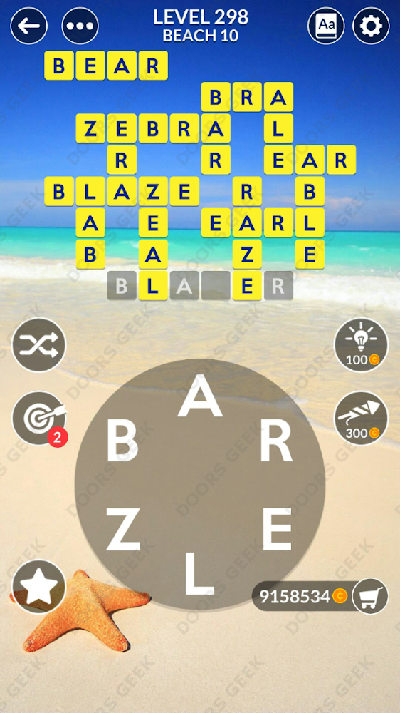 Wordscapes Level 298 answers, cheats, solution for android and ios devices.
