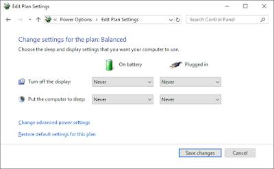 Periksa Windows dan Power Option
