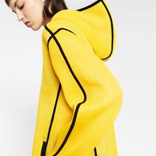 Zara Gymwear Hooded Yellow Mesh Jacket with a Black Stripe