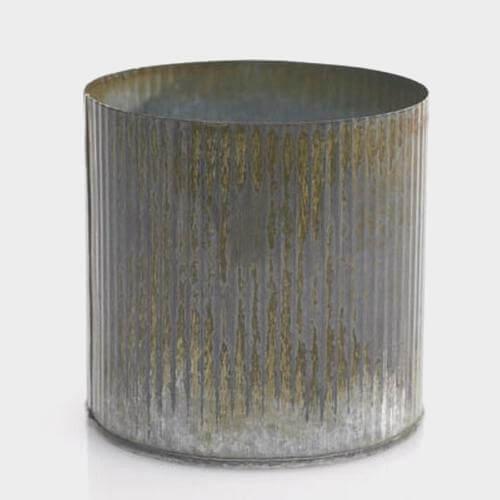 Photo of a small corrugated galvanized vase