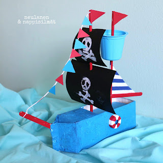 Create a pirate ship using milk carton