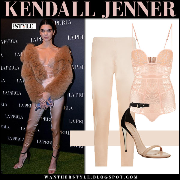 Kendall Jenner in fur jacket, blush lace bodysuit and blush silk trousers la perla what she wore february 2017