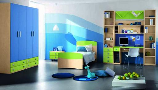 kombinasi warna hijau tosca pada kamar anak