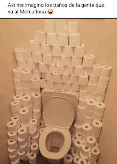Cuarto de baño con grandes cantidades de papel higiénico