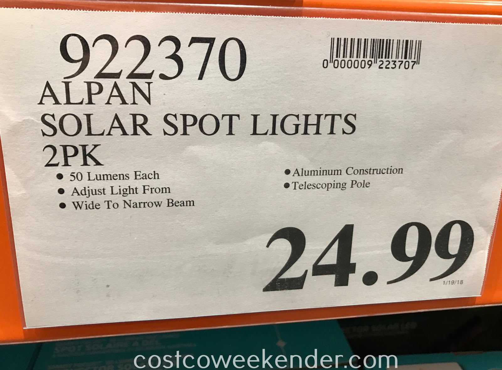 Deal for a pack of 2 Alpan SmartYard Smart Focus LED Solar Spotlights at Costco