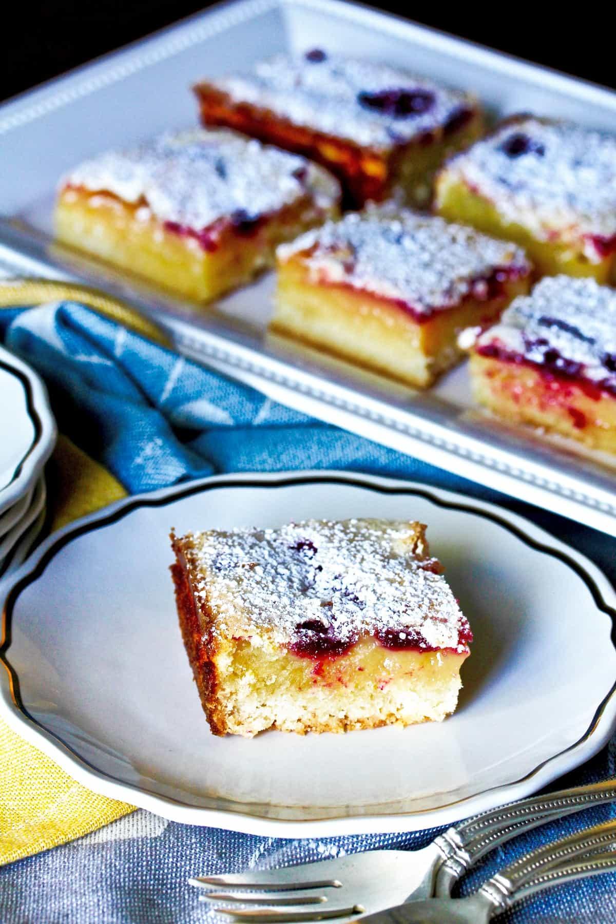 Blueberry lemon bars on a serving platter