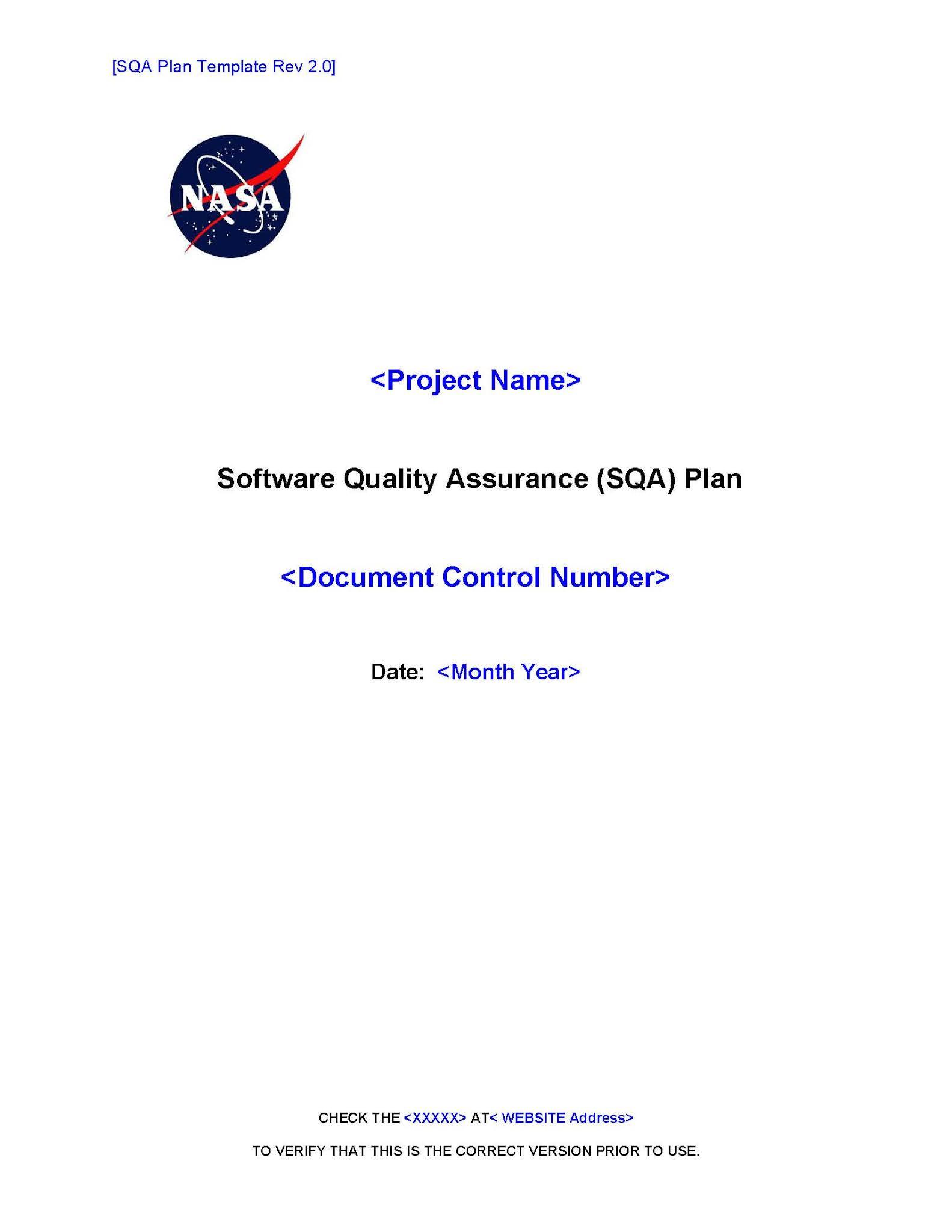 Software quality assurance plan template