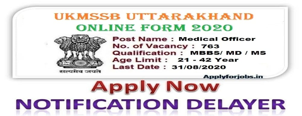 Uttrakhand medical Officer Recruitment 2020 Online Form, applyforjobs.in