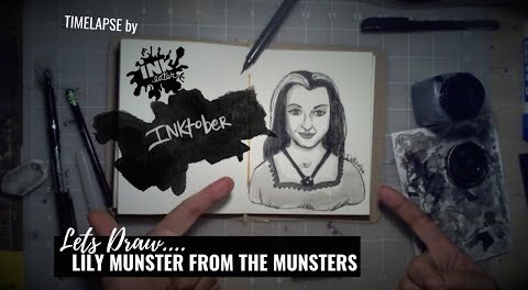 We Drew Lily Munster from The Munsters - Inktober 2018