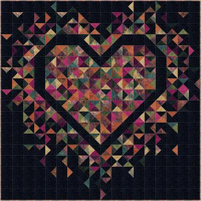 Exploding Heart quilt in batik fabrics
