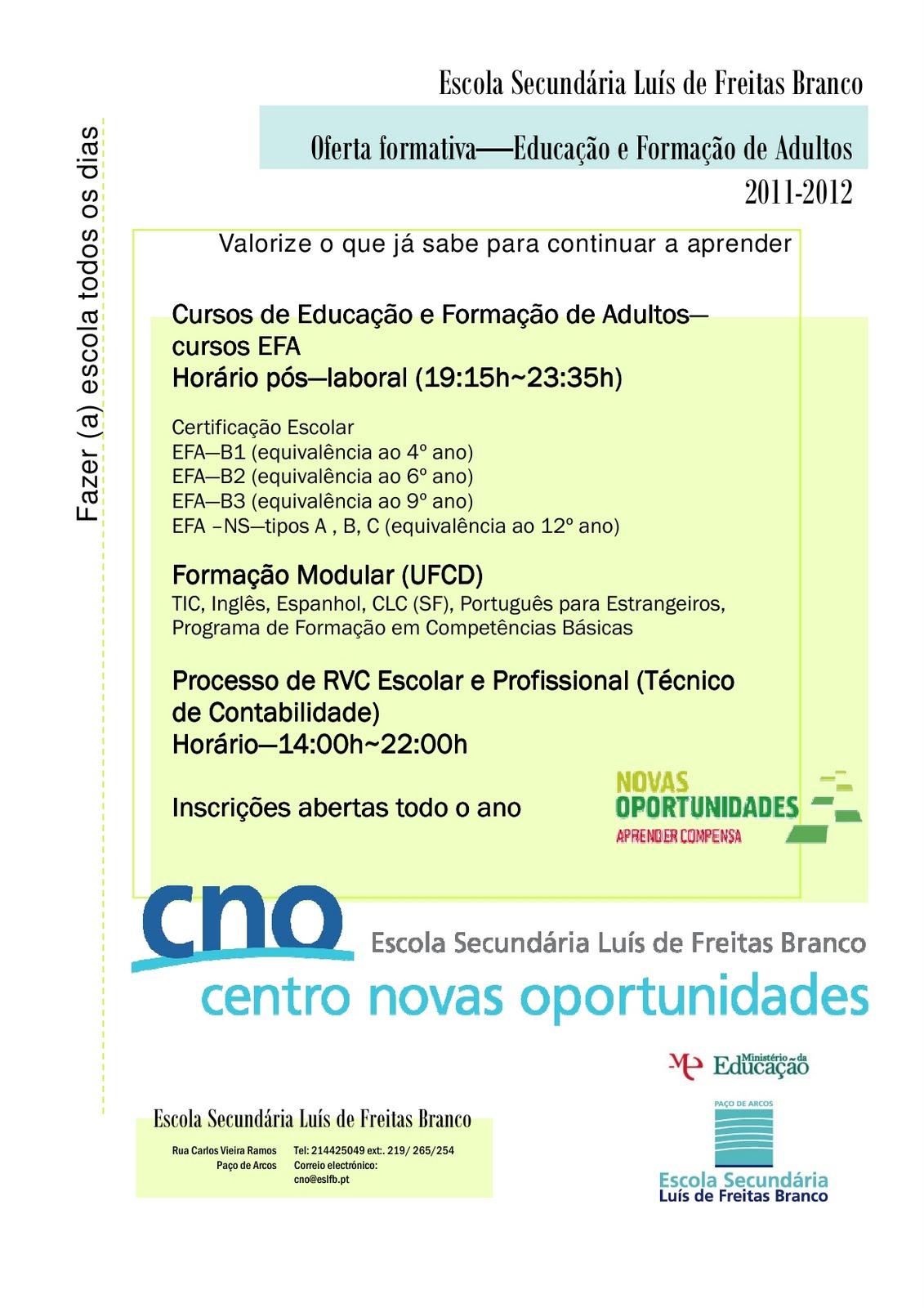 centro novas oportunidades da escola secund u00c1ria dr