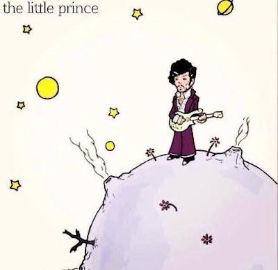 Meme de humor sobre el libro El principito con el músico Prince