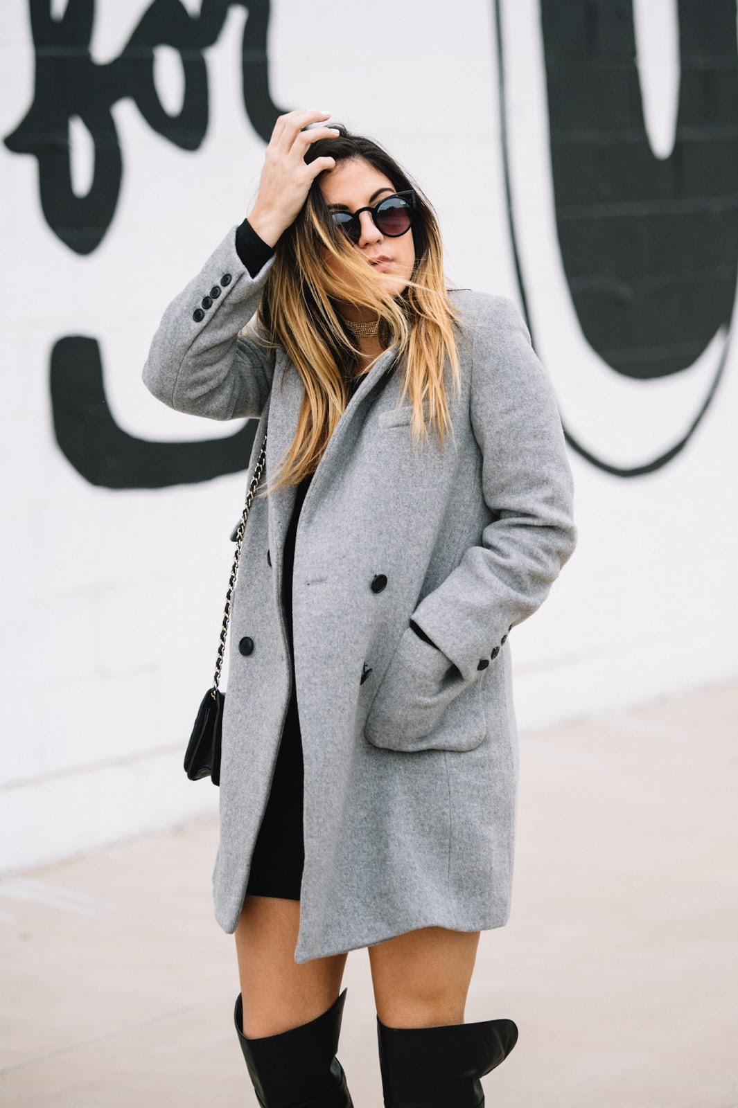 Dezzal Grey Lapel Coat - Taylor Winkelmeyer My Cup of Chic