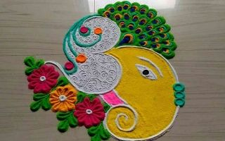 Colourful Ganesha with peacock rangoli design