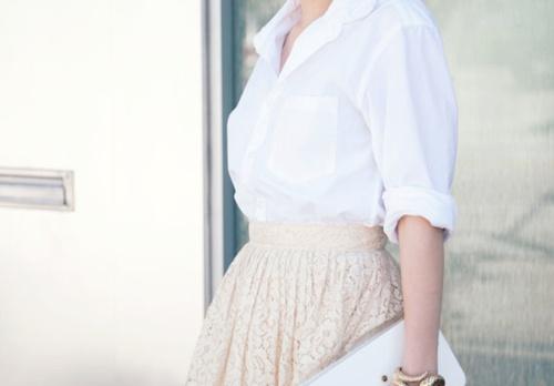 chemise blanche et dentelle