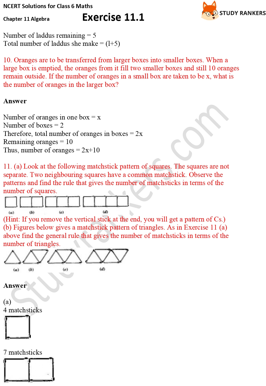 NCERT Solutions for Class 6 Maths Chapter 11 Algebra Exercise 11.1 Part 4