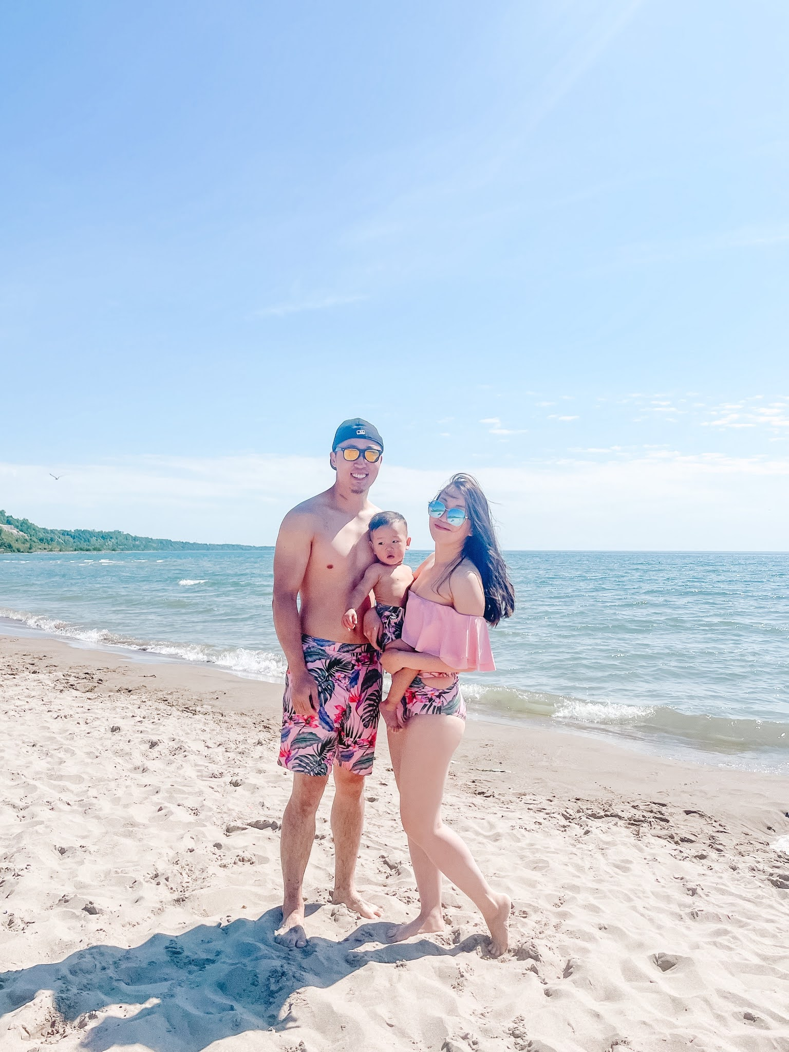 Pink Tropical Family Matching Bathing Suit