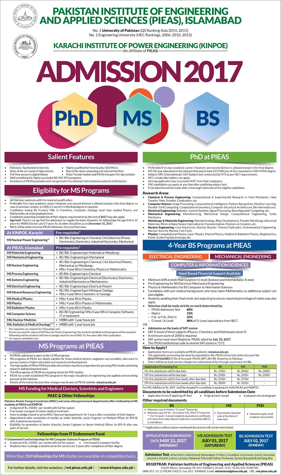 Advertisment of PIEAS ADMISSION for BS, MS and Ph.D May 22, 2017