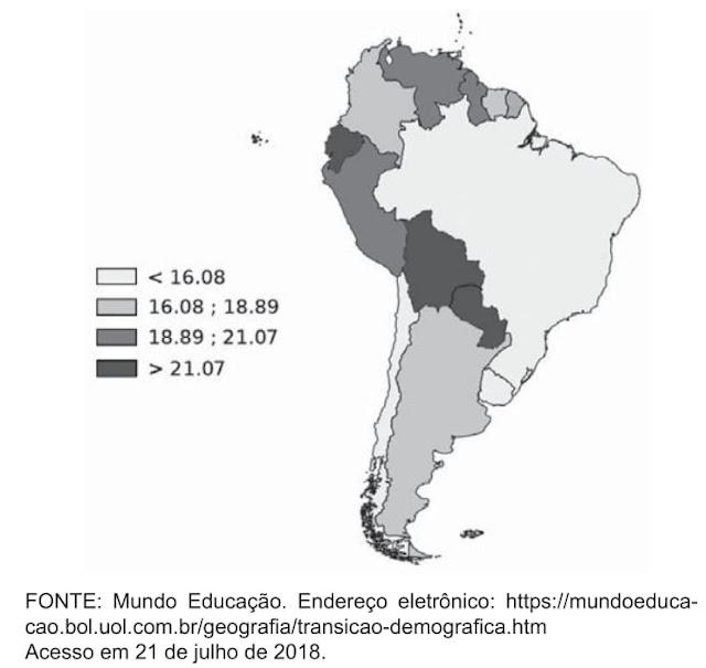 As taxas de natalidade apresentadas no cartograma a seguir mostram que os países da América do Sul