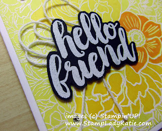 "A cheery ""hello Friend"" card made with Stampin'UP!'s Breathtaking Bouquet and Seriously the Best stamp sets"