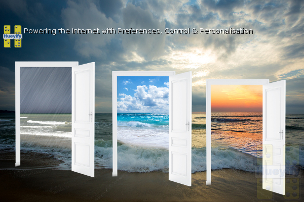 Picture of the beach with three door over-laying. Inside first door shows the beach when raining, on second door a beautiful day and third door the beach at sunset. Three choices on different takes of the beach.