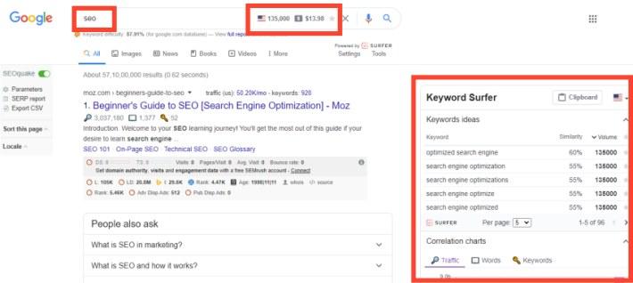 keyword surfer chrome extension keyword research