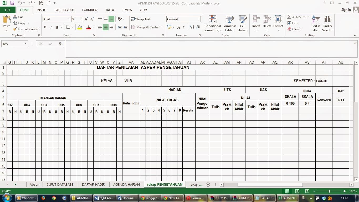 FORMAT PENILAIAN KURIKULUM 2013 (Administrasi Guru ...