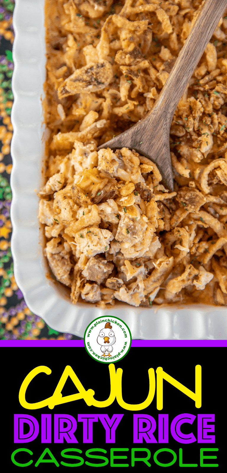 scooping dirty rice casserole from baking dish