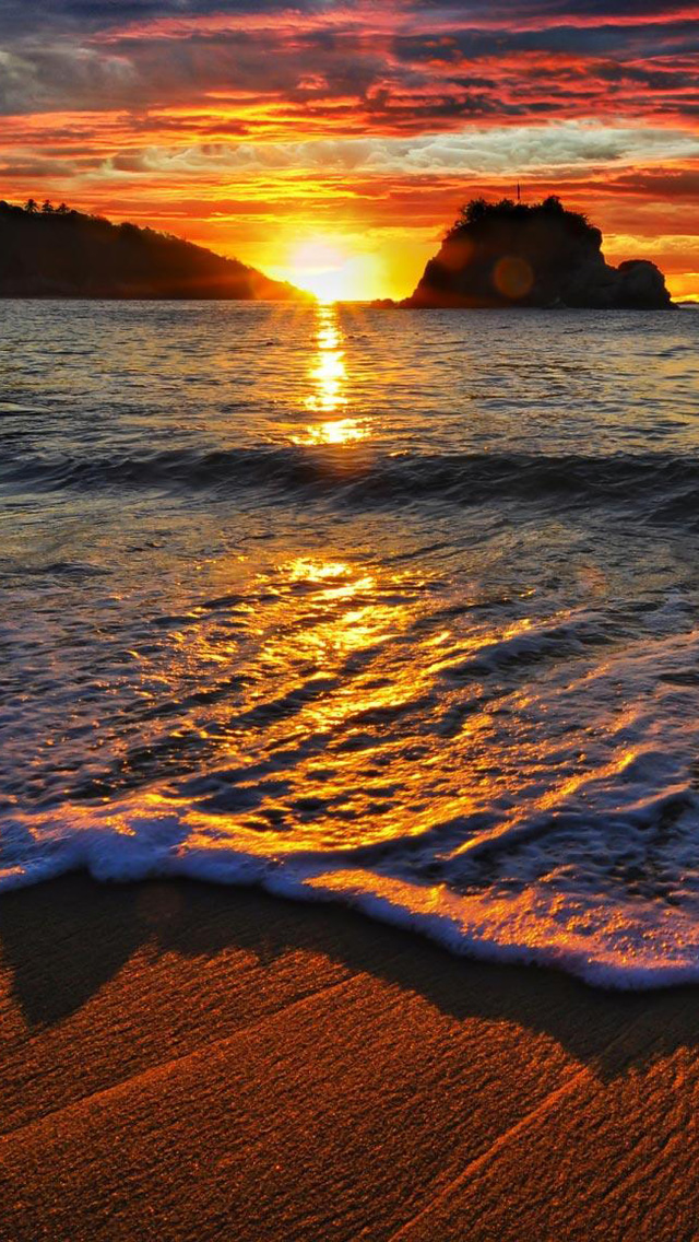 Free Download Ocean Beach Sunset HD iPhone 5 Wallpapers - Part Two | Free HD Wallpapers for Your ...