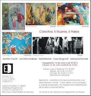 Colectiva Cinco Mujeres, Seis Países en Espacio Cultural Abierto.