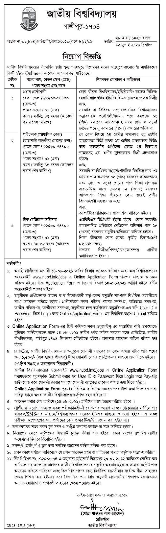 National University Job Circular 2021