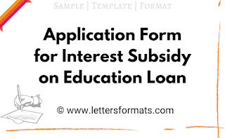 Application Form for Interest Subsidy on Education Loan Sample