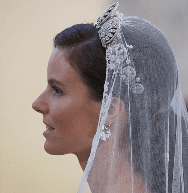The Princess wore the Kinsky Honeysuckle tiara from the collection of the Princely Family of Liechtenstein