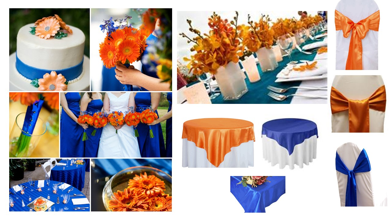 Tricky wedding colors for season venue advice please - Orange and blue decor ...