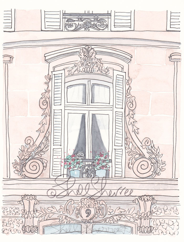 Paris Window No.9 with Black Cat - Paris art illustration © Shell Sherree all rights reserved