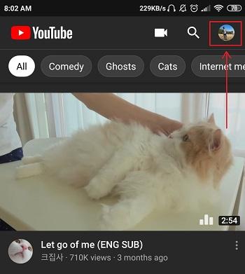 ikon profil di aplikasi YouTube