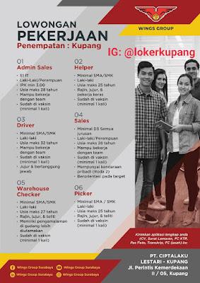 Lowongan Kerja PT Ciptalaku Lestari Kupang (Wings Group) Sebagai Admin Sales, Helper, Driver, Sales, Warehouse Checker, Picker