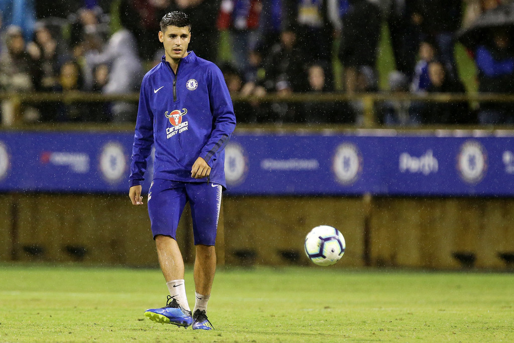 Alvaro Morata of Chelsea during a Chelsea FC training session at The WACA on July 21, 2018 in Perth, Australia