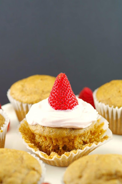 breakfast cupcake topped with yogurt and strawberry