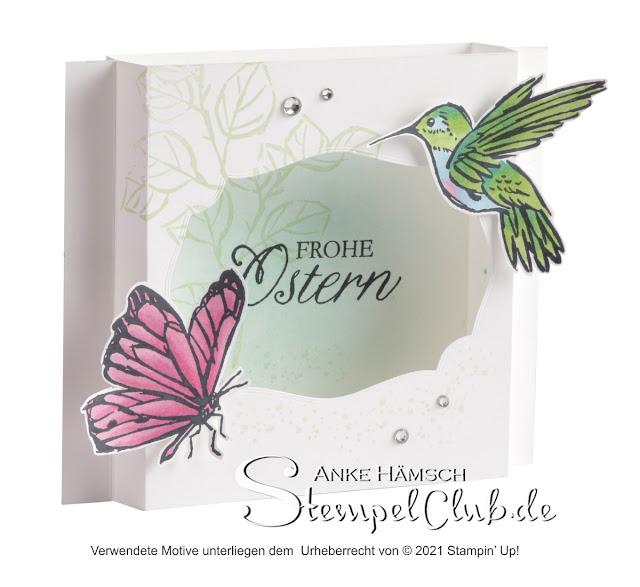 Dioramakarte mit einem Kolibri und einem Schmetterling. Stempelset Tintentraum / A TOUCH OF INK