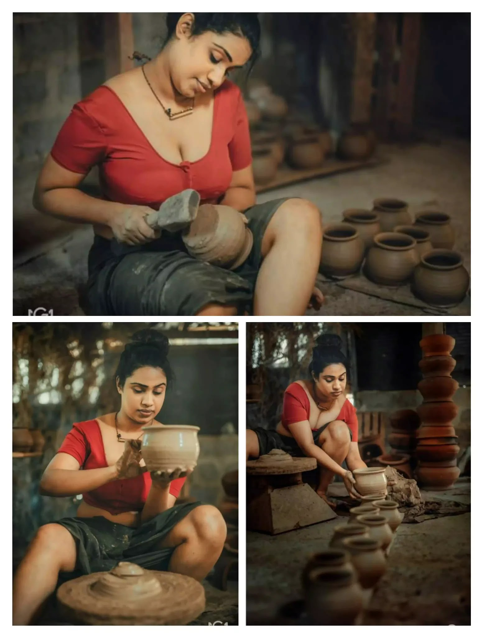village girl in red blouse with black lungi
