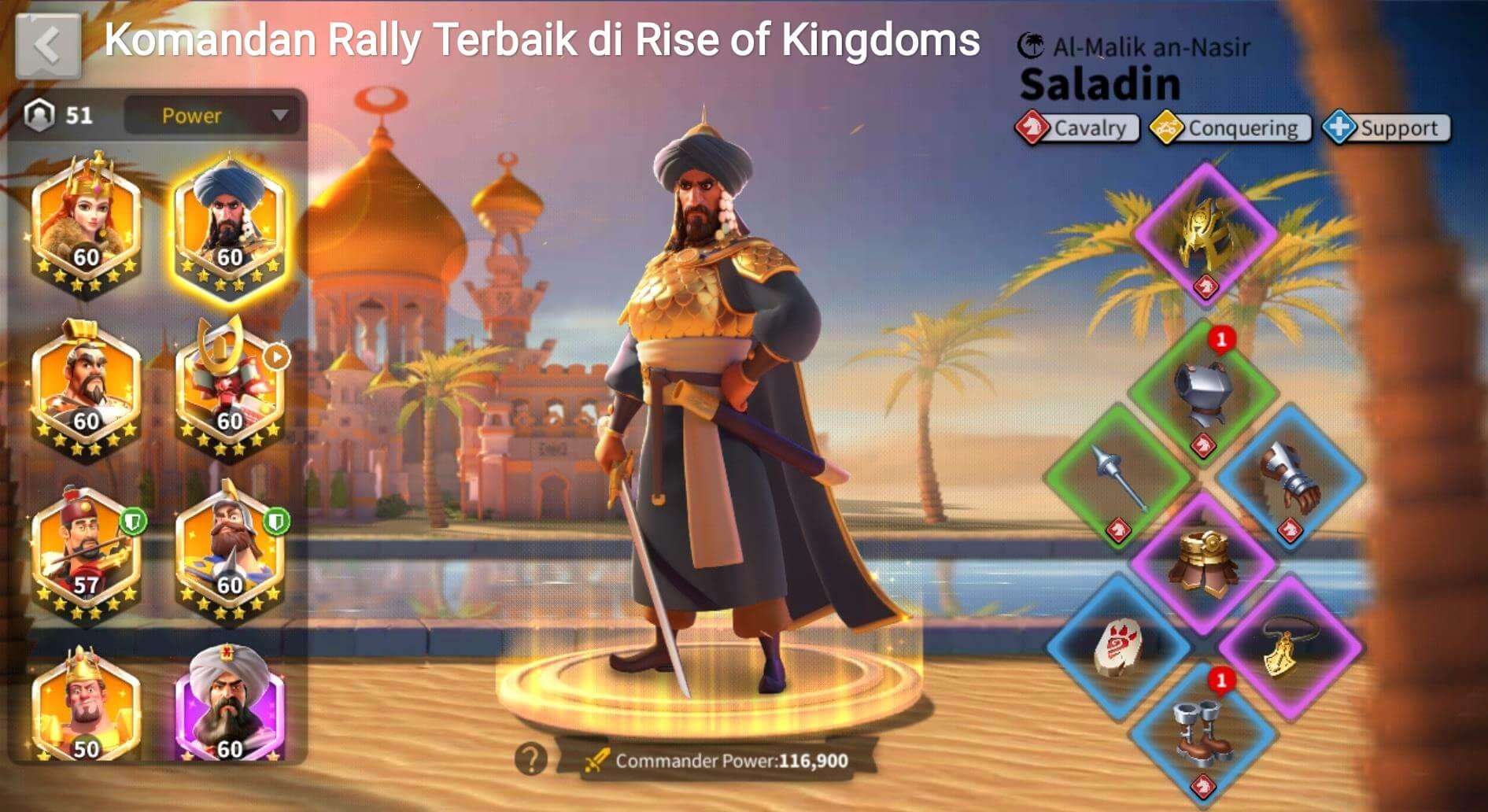 saladin rise of kingdoms equipment