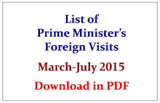 List of Prime Minister Narendra Modi's Foreign Visits from March to July 2015- Download in PDF