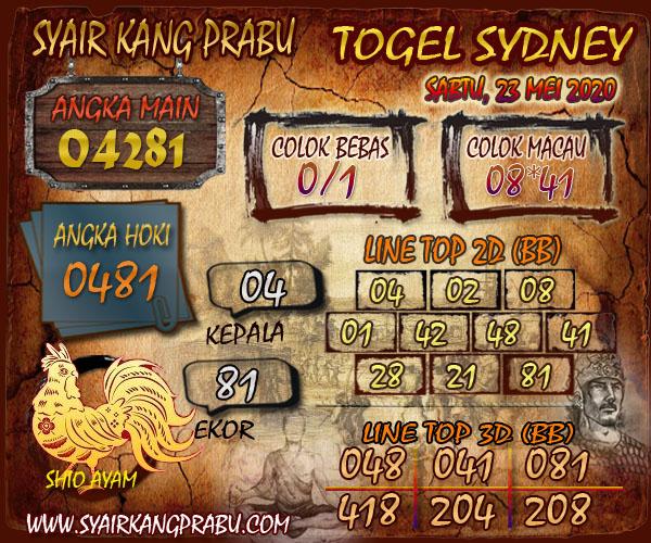 Kode Syair Sydney Sabtu 23 Mei 2020 - Syair Kang Prabu
